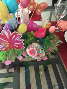 Dollar Tree Stepping stones are too cute and perfect for my tablescape.
