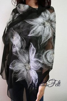 Nuno fieltro seda bufanda mantón abrigo en negro flores