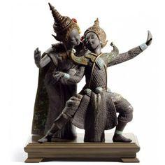 Look what I found on Thai Dancers Porcelain Statue Porcelain Jewelry, Fine Porcelain, Black Figurines, Hina Dolls, Fire Painting, Sculptures, Lion Sculpture, Royal Doulton, Buddhism
