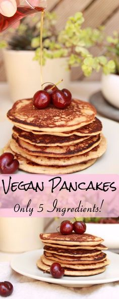 vegan pancakes, healthy vegan pancakes, only 5 ingredients, refined sugar free, vegan breakfast recipe