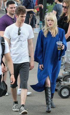 Emma Stone - Stars On Set Of 'The Amazing Spiderman 2'
