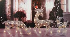 Felices Pascuas Collection White Glittered Doe Fawn and Reindeer Lighted Christmas Yard Art Decoration Set Outdoor Reindeer Christmas Decorations, Christmas Yard Art, Decorating With Christmas Lights, Xmas Decorations, Christmas Items, Outdoor Decorations, Christmas Deer, Holiday Decorating, Christmas Projects