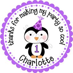Winter ONEderland Penguin design in purples.  Personalized stickers by partyINK.