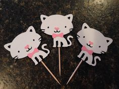 Cat cupcake toppers Kitty Party Cat Birthday by KincadesCrafts