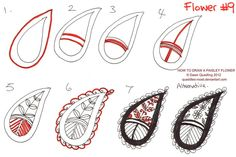 Finally have done a few how to draw paisley tutorials after many requests Drawn freehand with Staedtler pens with Sharpie marker Original size is How to draw Paisley Flower 09 Shanny Paisley Art, Paisley Flower, Paisley Design, Paisley Pattern, Zentangle Drawings, Doodles Zentangles, Doodle Drawings, Doodle Art, Zen Doodle