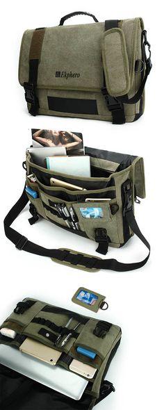 $29.64 Men Canvas Multifunctional Big Capacity Crossbody Bag Handbag