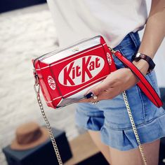 Kit Kat Choco Handbag Small Box Shape Shoulder Bag Funny Personality Crossbody Bag Diagonal Chain Bag Fashion Messenger Bag sold by Original . Shop more products from Original on Storenvy, the home of independent small businesses all over the world. Cute Handbags, New Handbags, Small Handbags, Chain Shoulder Bag, Small Shoulder Bag, Shoulder Strap, Moda China, Dms Boutique, Novelty Bags