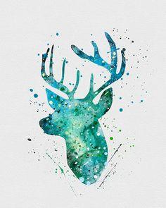 Deer Antler Stag Watercolor Art