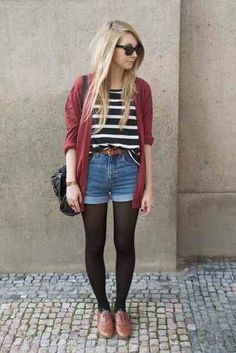 I'm not a huge fan of jean shorts for the most part, but I love the whole look in this case. #hipsteroutfits