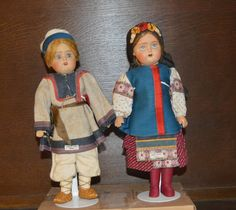 Pair of Antique Russian Ball-jointed Dolls 11 1/2 inches tall.