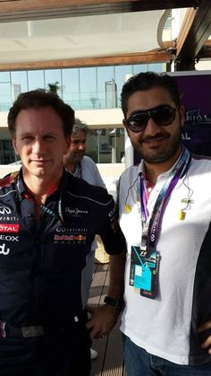 With Christian Horner, Team Principal of the Infiniti Red Bull Racing Formula One Team