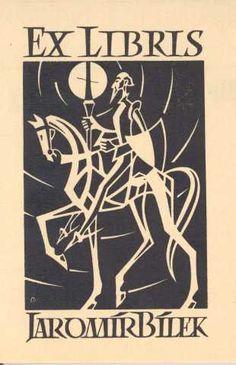 Ex libris Jaromír Bílek, República Checa,1962. Colección de Gian Carlo Torre. http://hera.uclm.es:8080/Exlibris/2006/ListExlibris.jsp