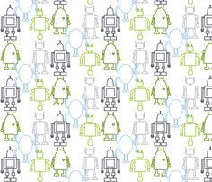 Robot Outlines fabric by alecorndesigns on Spoonflower - custom fabric