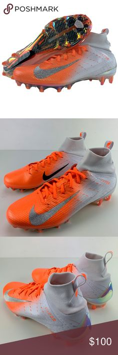 new concept b27c6 decd8 Nike Vapor Untouchable Pro 3 Football Cleats Nike Vapor Untouchable Pro 3 Football  Cleats Size 9 Mens White Orange Chrome Brand New Football Cleats, ...