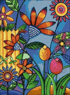 Fence with flowers abstract cross stitch | Yiotas XStitch