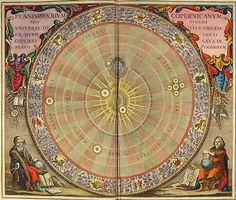 Plate no. 4 from 'Harmonia Macrocosmica', showing the planisphere of Copernicus, or Copernicus' hypothesis of the entire universe.