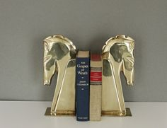 Vintage Brass Horse Bookends by MotherandSonVintage on Etsy, $75.00