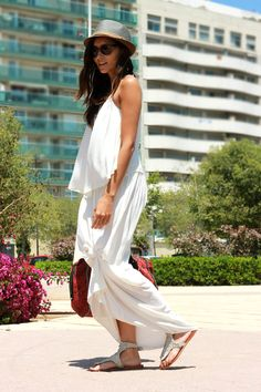 Beaded sandals and a fedora elevate a simple maxi to another level! #pintowin #jumpforjune