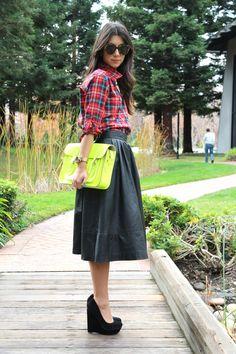 preppy plaid, full leather skirt, highlighter yellow cambridge satchel, sky-high wedges