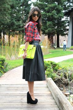 Love the plaid, leather, neon. not to mention those wedges!