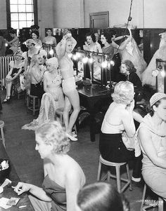 MGM chorus girls in a dressing room preparing for a day's work on Dancing Lady with Joan Crawford,  1932.