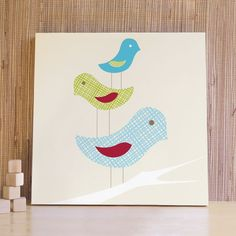 20x20 Stacked Birds Canvas - Blue - Bird wall art for nursery and children's room