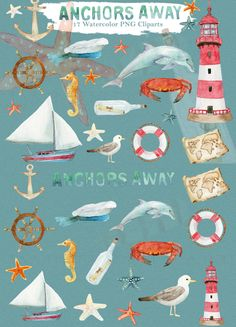 Nautical Clipart Watercolor, planner, digital, dolphin, ocean, water, sea, navy, coastline, beach, summer, lighthouse, sailboat, pigeon, starfish