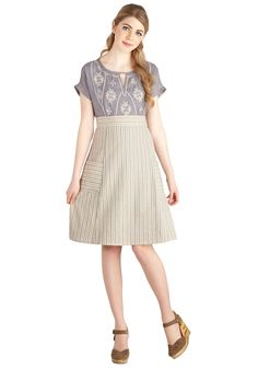 Space Bar Skirt in Taupe. This striped skirt from Mata Traders gives you control over your busy work day! #tan #modcloth