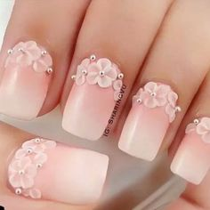 Beautiful nail art designs that are just too cute to resist. It's time to try out something new with your nail art. 3d Nail Art, 3d Nails, Cute Nails, Gradient Nails, Bling Nails, Beautiful Nail Art, Gorgeous Nails, Bridal Nails, Wedding Nails