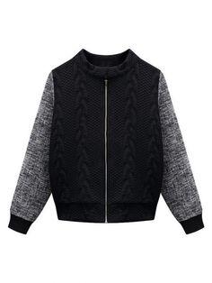Plus Size Women Patchwork Long Sleeve Zipper Thicken Coat