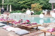 "How gorgeous is this perfectly pink pool party planned by the gals at ""A Charming Affair"" and captured by Camille Catherine Photography? This event was the debut for our new Flippin low set dining tables as well! Debut Themes, Debut Ideas, Laura Lee, Summer Party Themes, Party Ideas, Event Ideas, Debut Party, Pool Party Decorations, Al Fresco Dining"