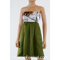 Empire Waist KNEE LENGTH Box Pleats Rhinestone Trim Pictured in WINTER and Olivino. Available in all camo patterns and many satin colors. Made in the USA.