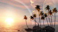 #Tropical #Ocean #Palms #Sunset #3d #Digital
