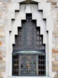 Ornate Art Deco detail in the exterior view of the