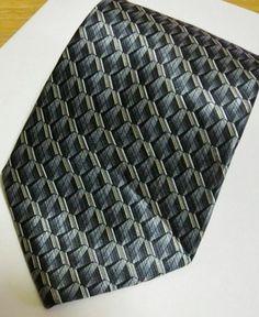 Stafford Silk Tie Necktie Purple Black Silver Geometric Pattern