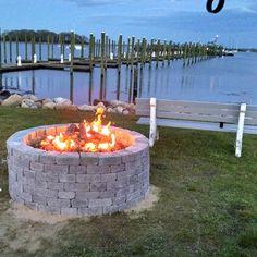 "Warming Trends Outdoor 48"" Firepit at a local Yacht Club.   300,000 BTU Crossfire Burner - #Custom Brick Work. #beautiful #handmade #summer"