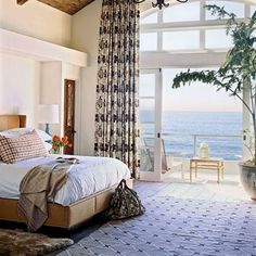 It's hard to beat the view in this elegant bedroom.