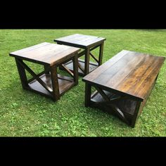 Rustic X coffee table with matching end tables