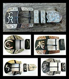 Custom made western ranger belt buckles in two piece sets, personalized to your style. We have a variety of shapes available, and you can select from several choices of metal for the overlay. Spurs Western, Western Shirts, Custom Belt Buckles, Hand Engraving, Hats For Men, 3 Piece, Ranger, Westerns, Brass