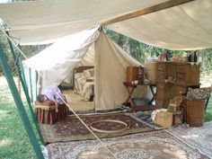 Here's our current living space at the Civil War reenactments we participate in.  Nawaka, with her period Victorian look, will replace the tent in this scene.