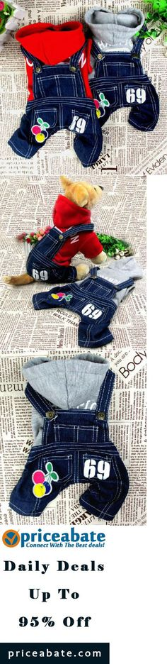 #priceabatedeals Cherry Sweater Jeans Overalls Jumpsuit Cat Small Dog Clothes Dog Costume 5 size - Buy This Item Now For Only: $12.34
