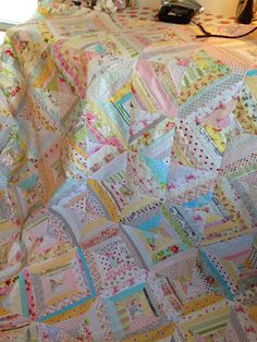 @ A Quilting Sheep: Scrappy string pieced quilt - so pretty!