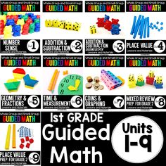 This first grade guided math bundle includes everything you need to teach guided math- lesson plans, activities, printables, and even ideas for differentiation. CCSS and TEKS aligned! Math Rotations, Math Centers, Numeracy, Math Games, Math Activities, Guided Math Groups, Daily 5 Math, 1st Grade Math, Grade 1