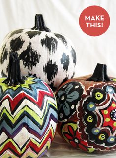 Textile-inspired pumpkins! Love, love, love the black and white Ikat one especially.