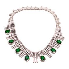 Statement Oval Emerald Drops and Clear CZ Fancy Necklace ($347) ❤ liked on Polyvore featuring jewelry, necklaces, nakit, emerald necklace, oval necklace, wedding party jewelry, fancy jewellery and party necklaces