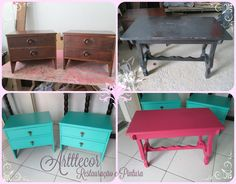 Pink e Turquesa! So Sweet! Serviços ARTTECOR em Móveis.  Restaura, pinta, transforma seus móveis!  Orçamentos: arttecor@terra.com.br  Facebook:  https://www.facebook.com/arttecor/