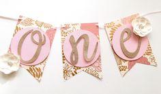 Cumpleaños Banner-trona un jardín de flores primer partido Banner - té, rosa y oro brillo-primer cumpleaños