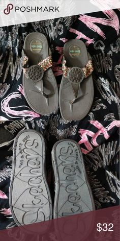 Skecher tone up sandles Brown sandles with tribal print. Worn once Skechers Shoes Sandals