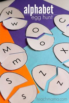 Kids will go crazy for this alphabet egg hunt! This literacy fun activity will help kids match uppercase and lowercase letters. Turn learning the alphabet into something fun and exciting for the kiddos. It's a great activity to teach upper and lowercase letters and letter recognition. #teachmama #alphabet #alphabetactivities #earlylearning #toddler #toddleractivities #teaching #literacy #preschool #education #activitiesforkids