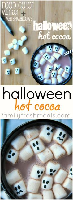 Halloween Hot Cocoa - Fun and easy to make this spooky food! #familyfreshmeals